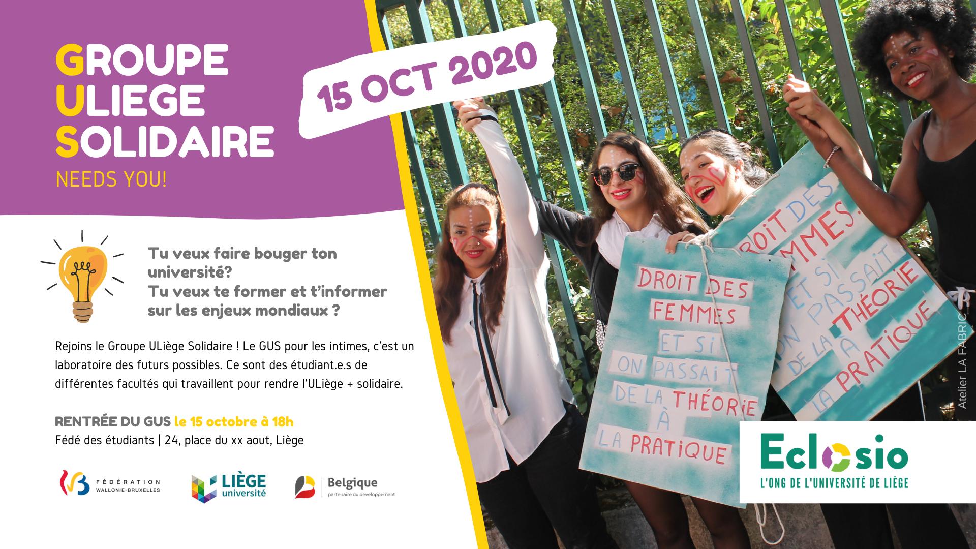 Groupe ULiège Solidaire - rentrée 2020-2021
